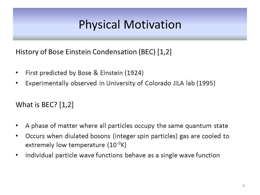 Physical Motivation History of Bose Einstein Condensation (BEC) [1,2]